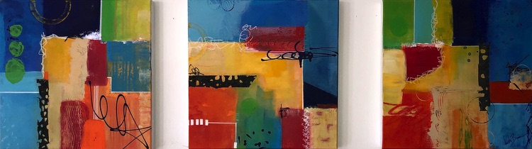 3 is a Charm a series of three paintings by abstract artist Anita Brown
