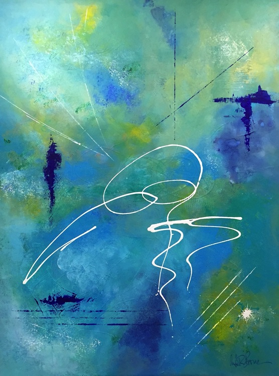 Exciting abstract art in shades of blue by artist Anita Brown