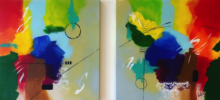 A series of two paintings by abstract artist Anita Brown