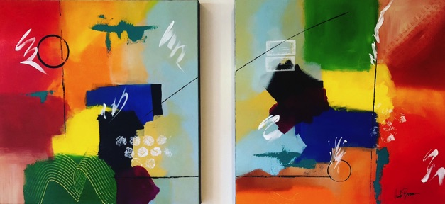 Anit Brown abstract artist a series of two paintings