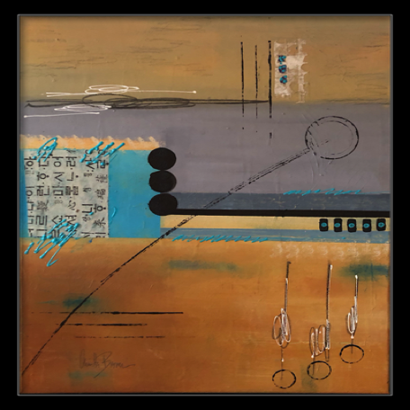 """Peaceful Place"" 16X20 Gallery wrap, 3/4"" canvas, framed Acrylic, collage and graphite  $375.00"